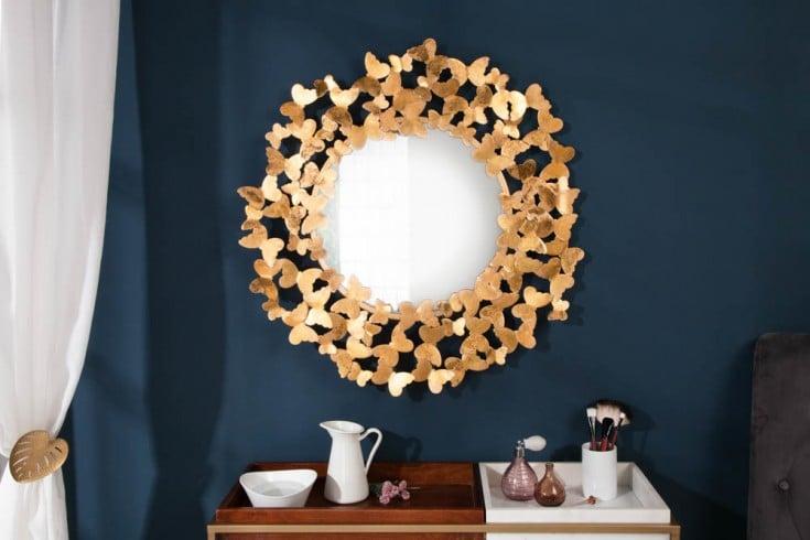 Verspielter Wandspiegel BUTTERFLY 78cm Blattgoldoptik Schmetterlingsrahmen