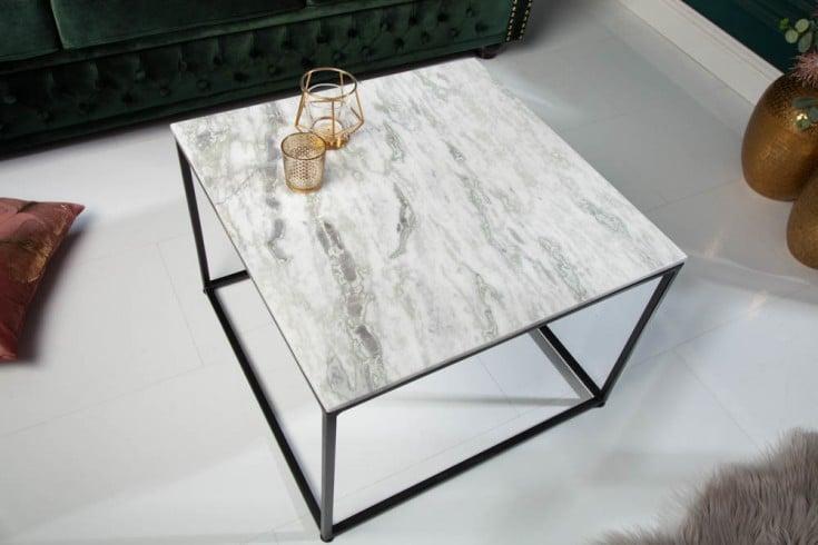 Eleganter Couchtisch ELEMENTS 50cm weiß mit polierter Marmor-Platte