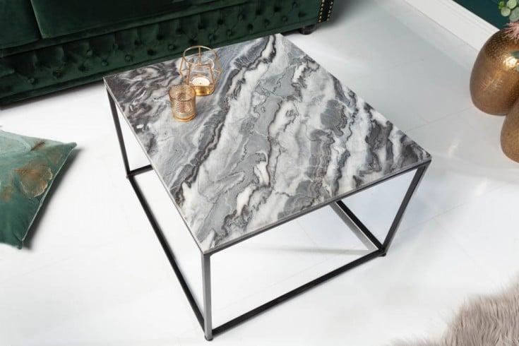 Eleganter Couchtisch ELEMENTS 50cm grau mit polierter Marmor-Platte