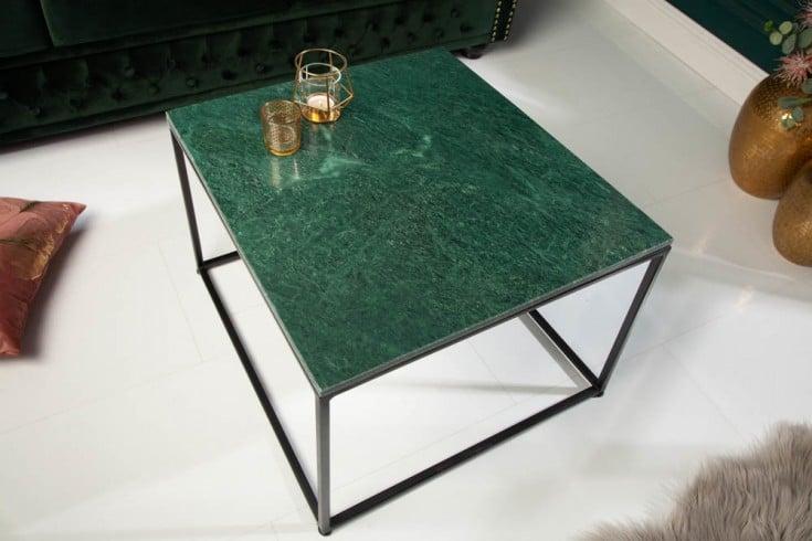 Eleganter Couchtisch ELEMENTS 50cm grün mit polierter Marmor-Platte