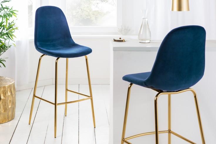 Design Barstuhl SCANDINAVIA MEISTERSTÜCK dunkelblau Samt mit Fußablage