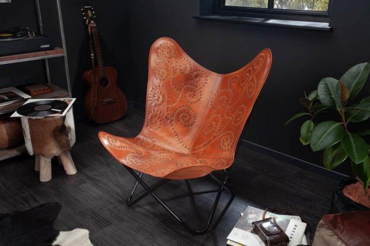Retro Lounge Sessel BUTTERFLY hellbraun Echtlederbezug mit Ziernieten