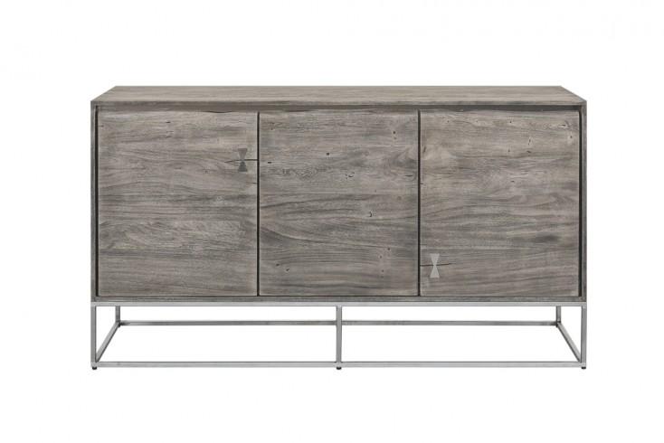 Massives Sideboard MAMMUT ARTWORK 147cm grau Akazie sandgestrahlt Edelstahlgestell