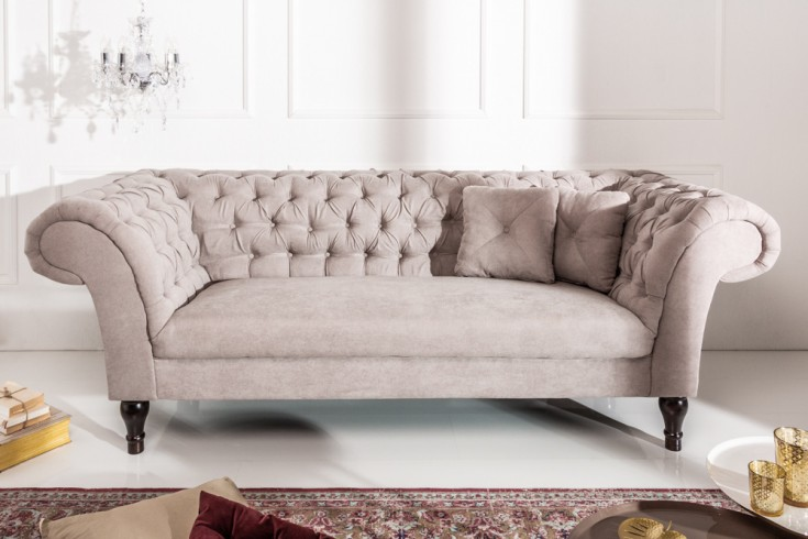 Elegantes Chesterfield 3er Sofa PARIS 225cm greige 3-Sitzer mit 2 Kissen