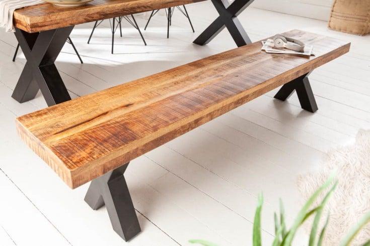 Industrial Sitzbank IRON CRAFT 200cm Mangoholz mit schwarzen X-Beinen
