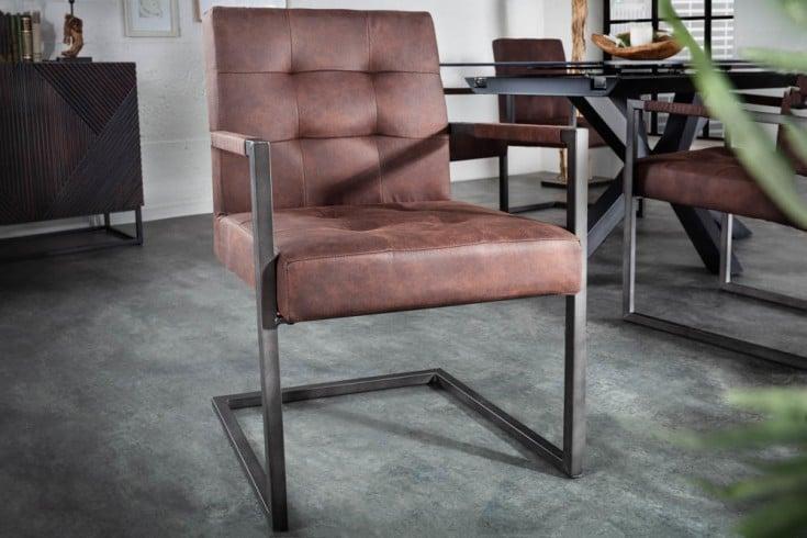 Industrial Freischwinger Stuhl RIDER vintage braun Eisengestell mit Armlehne