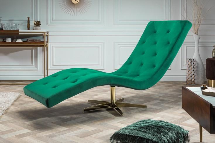 Moderne Design Liege RELAXO 165cm smaragdgrün Samt mit Steppung Relaxliege