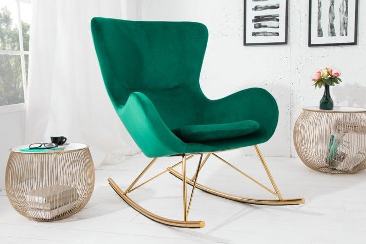 Design Schaukelstuhl SCANDINAVIA SWING smaragdgrün gold Samt Schaukelsessel
