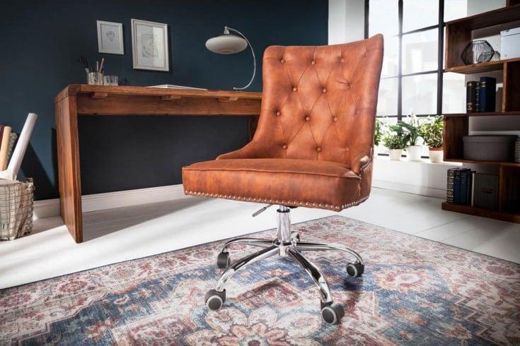 Höhenverstellbarer Bürostuhl VICTORIAN vintage hellbraun mit Armlehne und Ziersteppung