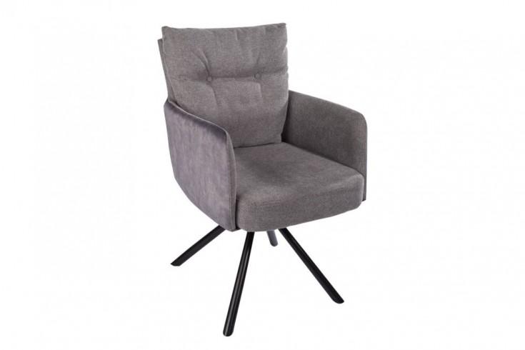 Retro Stuhl BIG GEORGE grau drehbar mit Armlehnen und Federkernpolsterung