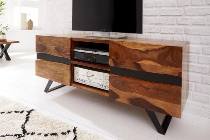 Massives TV-Lowboard AMAZONAS 160cm braun Sheeshamholz mit Baumkante