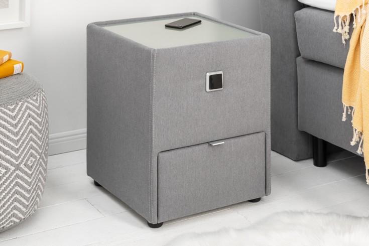 Moderner Nachttisch VICE 43cm grau mit Schublade indirekte Beleuchtung