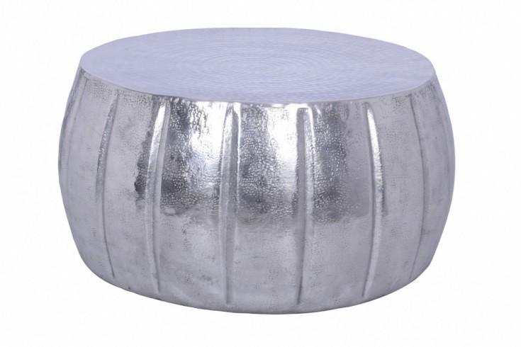 Handgefertigter Couchtisch MARRAKESCH 65cm silber mit Hammerschlag Design