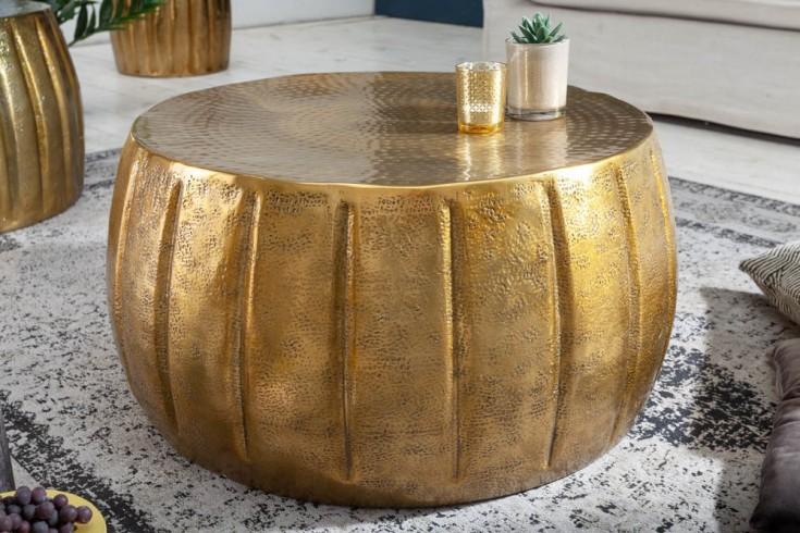 Handgefertigter Couchtisch MARRAKESCH 65cm gold mit Hammerschlag Design