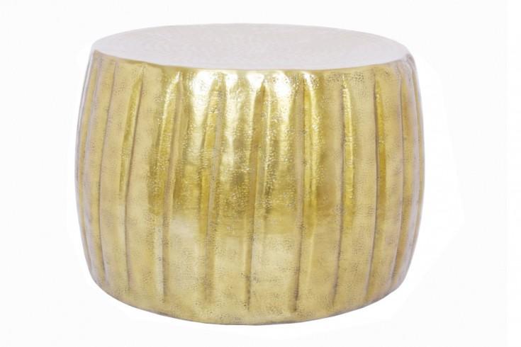 Handgefertigter Couchtisch MARRAKESCH 55cm gold mit Hammerschlag Design