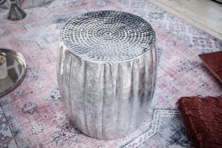 Handgefertigter Beistelltisch MARRAKESCH 42cm silber mit Hammerschlag Design
