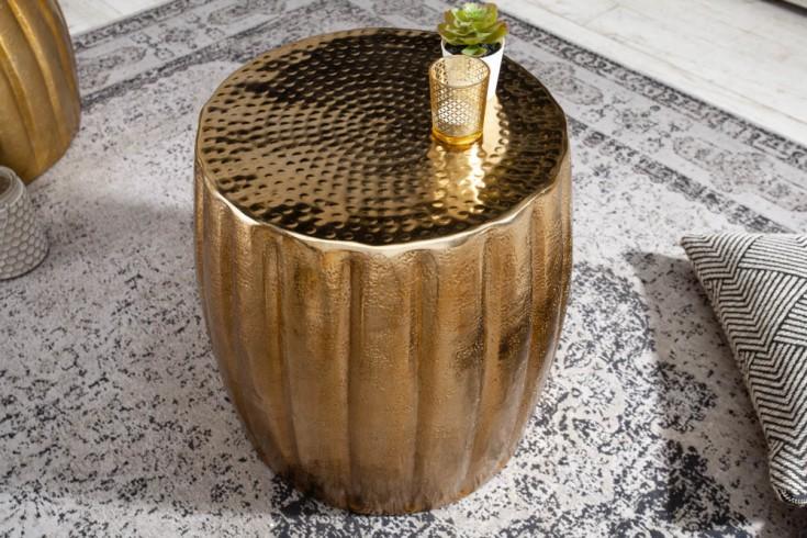 Handgefertigter Beistelltisch MARRAKESCH 42cm gold mit Hammerschlag Design
