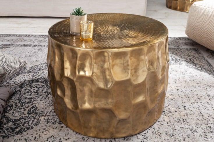 Handgefertigter Couchtisch ORGANIC ORIENT 53cm gold Hammerschlag Design