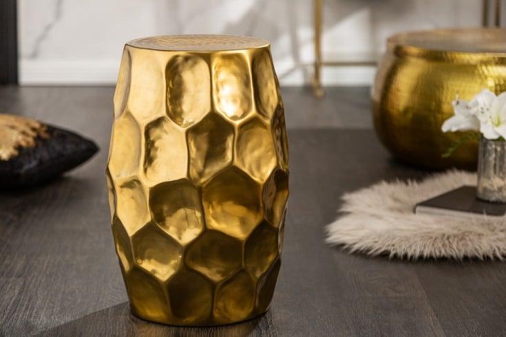 Handgefertigter Beistelltisch ORGANIC ORIENT 46cm gold Hammerschlag Design