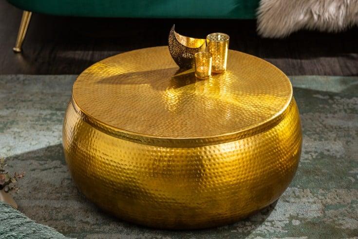 Handgefertigter Couchtisch ORIENT STORAGE 70cm gold Hammerschlag Design mit Stauraum