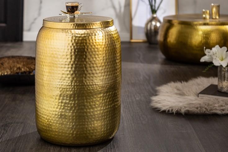 Handgefertigter Beistelltisch ORIENT STORAGE 48cm gold Hammerschlag Design mit Stauraum