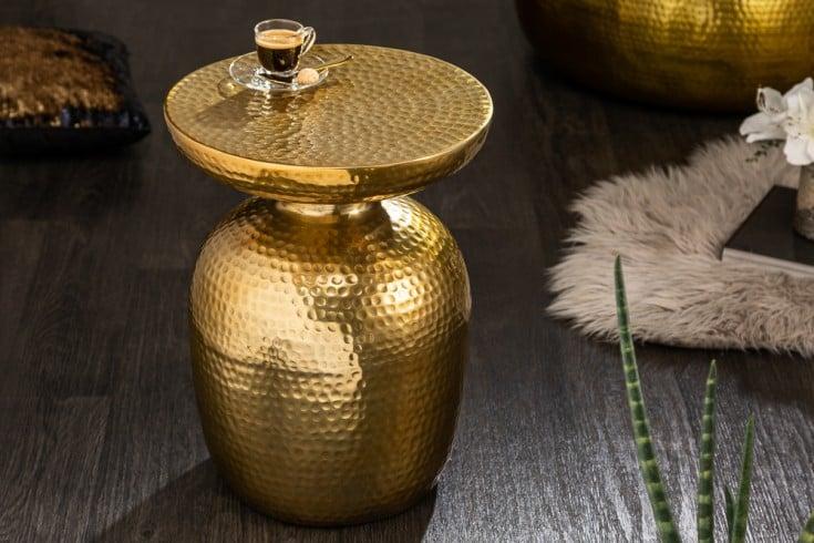Handgearbeiteter Beistelltisch ORIENT 36cm gold Hammerschlag Design