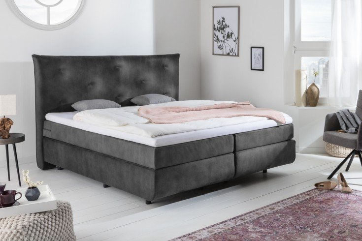 Luxus Boxspringbett CLOUD II 180x200cm anthrazit inkl. Matratze und Topper