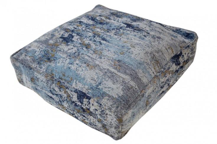 Design Bodenkissen ABSTRAKT 70cm blau beige abstraktes Muster Sitzkissen