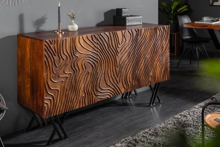 Handgearbeitetes Sideboard FLUID 160cm Mangoholz aufwendiges Frontdesign