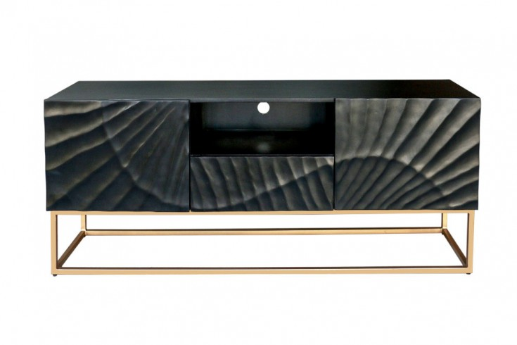 Massives TV Lowboard SCORPION 160cm schwarz Mangoholz aufwendige 3D Schnitzereien