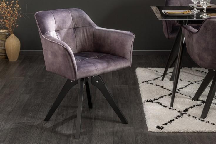 Drehbarer Design Stuhl LOFT dunkel grau Samt Retrostil mit Ziersteppung