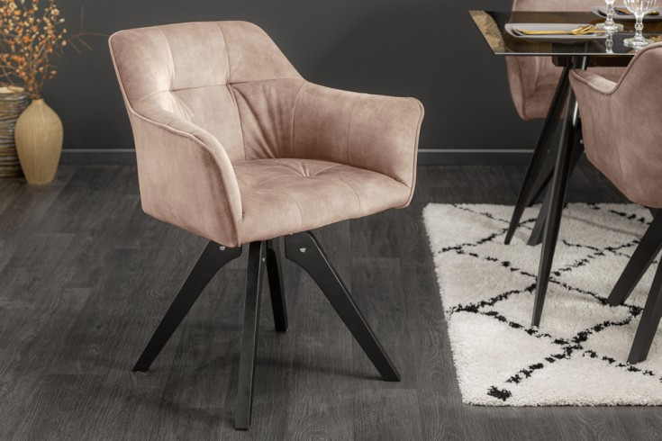 Drehbarer Design Stuhl LOFT champagner Samt Retrostil mit Ziersteppung