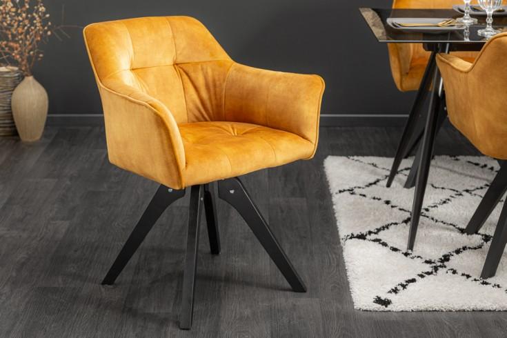 Drehbarer Design Stuhl LOFT senfgelb Samt Retrostil mit Ziersteppung