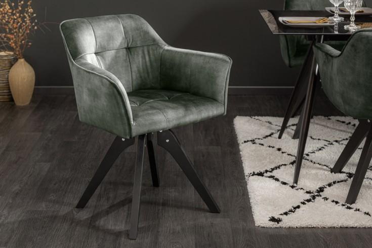 Drehbarer Design Stuhl LOFT grün Samt Retrostil mit Ziersteppung