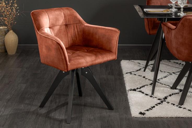 Drehbarer Design Stuhl LOFT kupferbraun Samt Retrostil mit Ziersteppung