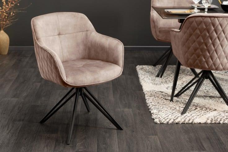 Drehbarer Design Stuhl EUPHORIA greige Samt im Retrostil mit Ziersteppung