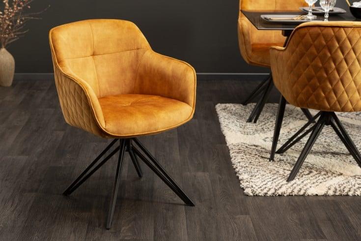 Drehbarer Design Stuhl EUPHORIA senfgelb Samt im Retrostil mit Ziersteppung