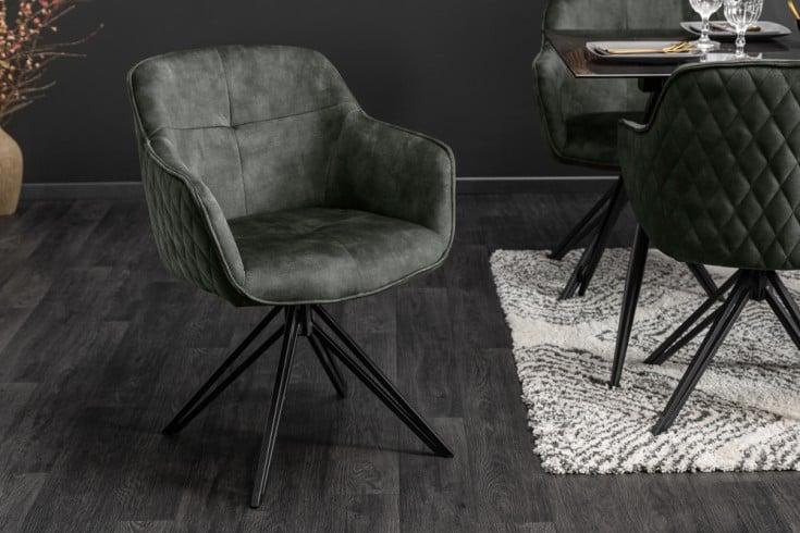 Drehbarer Design Stuhl EUPHORIA dunkelgrün Samt im Retrostil mit Ziersteppung
