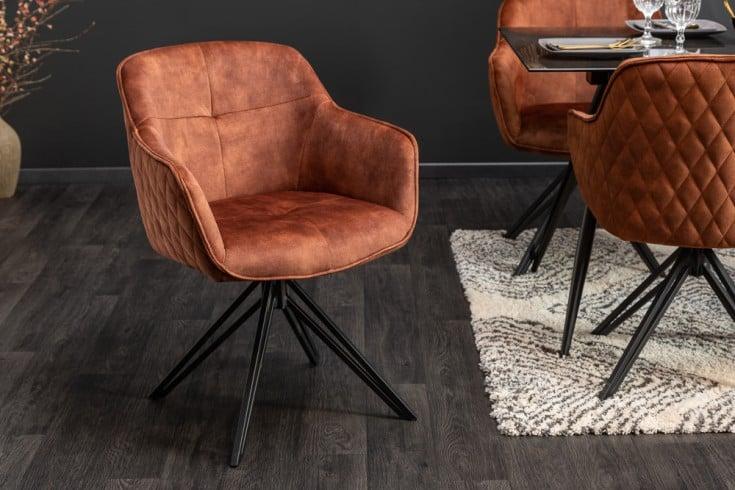 Drehbarer Design Stuhl EUPHORIA braun Samt im Retrostil mit Ziersteppung