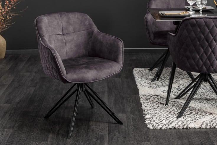 Drehbarer Design Stuhl EUPHORIA dunkelgrau Samt im Retrostil mit Ziersteppung