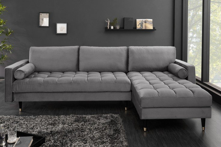 Elegantes Ecksofa COZY VELVET 260cm grau Samt Federkern 3er-Sofa