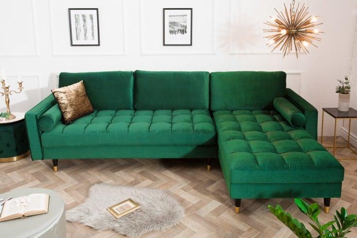 Elegantes Ecksofa COZY VELVET 260cm smaragdgrün Samt Federkern 3er-Sofa