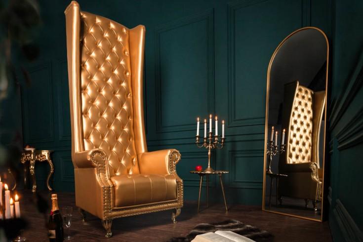 Barocker Thronstuhl HERITAGE gold mit Ziernieten Chesterfield Sessel