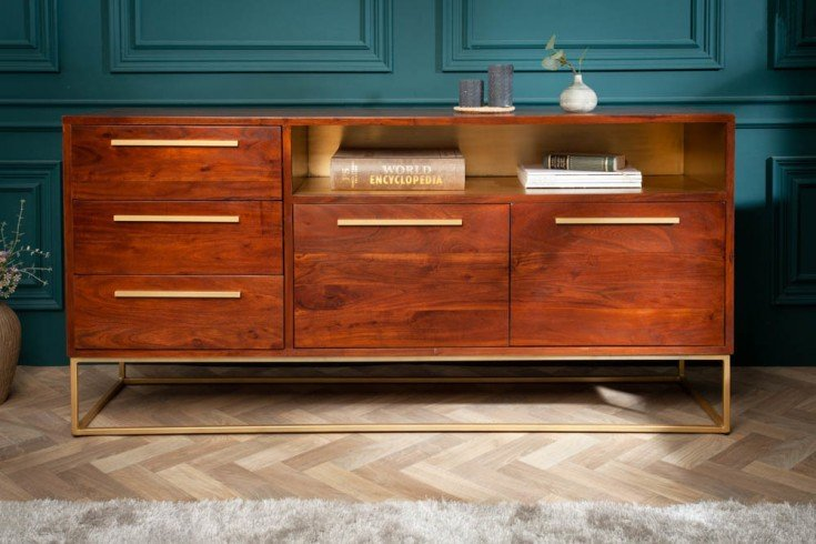 Massives Sideboard STRAIGHT 165cm Akazienholz braun gold Retro Stil