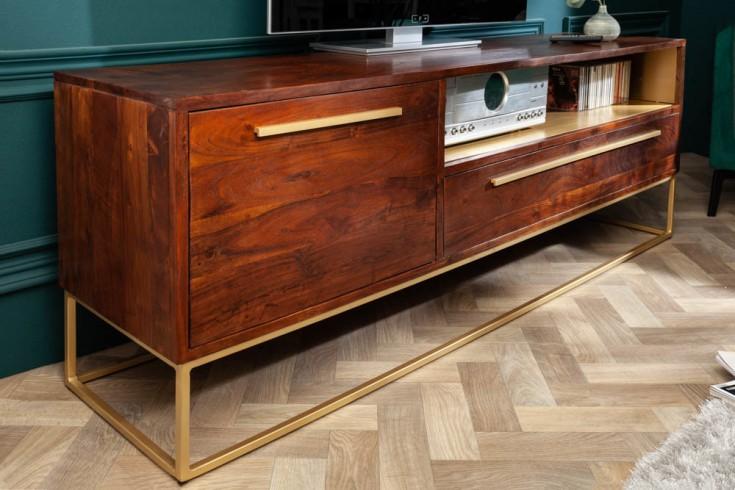 Massives TV-Lowboard STRAIGHT 165cm Akazienholz braun gold Retro Stil