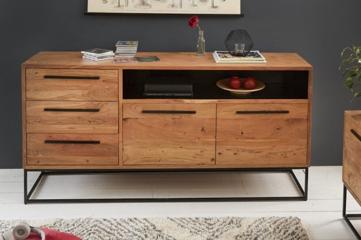 Massives Sideboard STRAIGHT 165cm Akazienholz natur schwarz Industrial Stil
