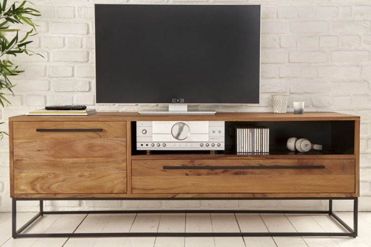 Massives TV-Lowboard STRAIGHT 165cm Akazienholz natur schwarz Industrial Stil