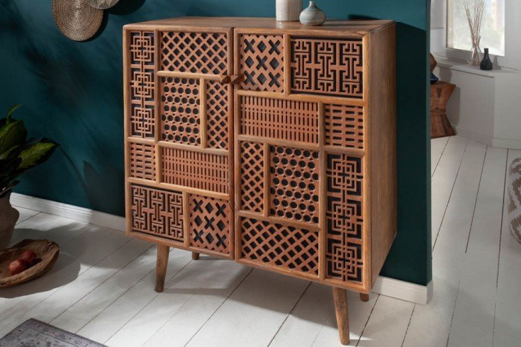 Massives Highboard MARRAKESCH 100cm Mangoholz mit Verzierung Boho Stil