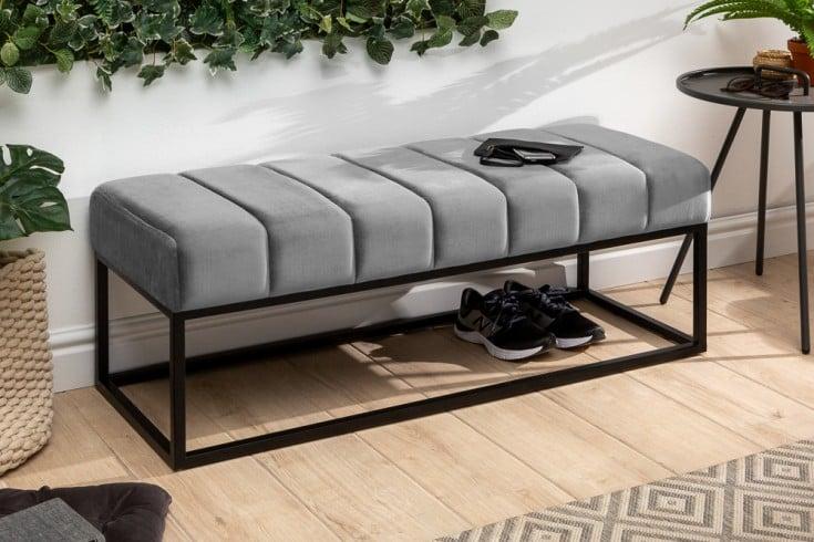 Elegante Sitzbank PETIT BEAUTÉ 108cm silbergrau Samt schwarzes Gestell