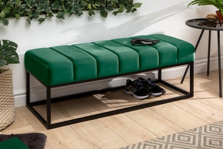 Elegante Sitzbank PETIT BEAUTÉ 108cm smaragdgrün Samt schwarzes Gestell